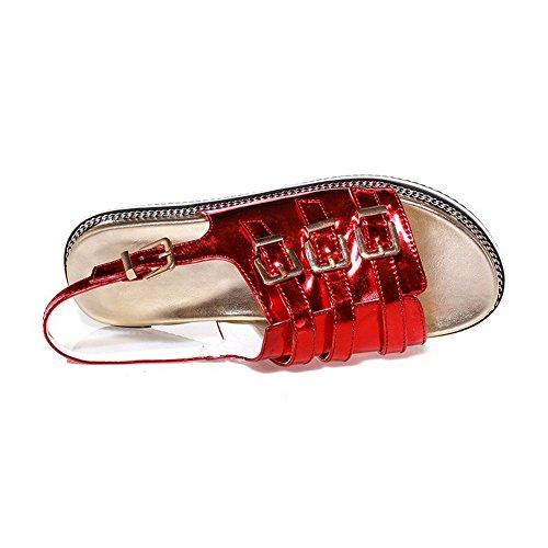 AgooLar Mujeres Sólido Hebilla Puntera Abierta Mini Tacón Sandalia Rojo