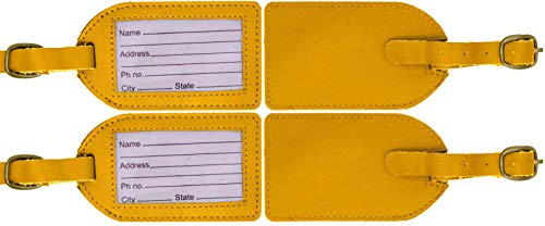 Genuine Cowhide Yellow Leather Luggage Suitcase Bag Tags (Pack of ()