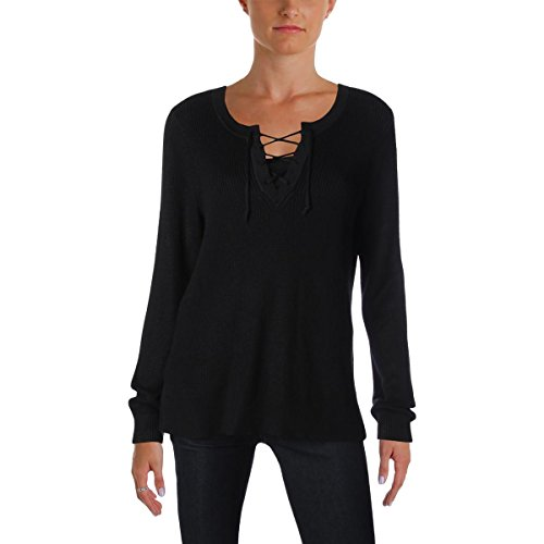 Lauren Ralph Lauren Womens Petites Lace-up Pullover Sweater Black ()