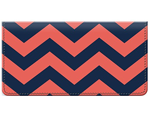 Snaptotes Chevron Design Coral Navy Checkbook Cover ()