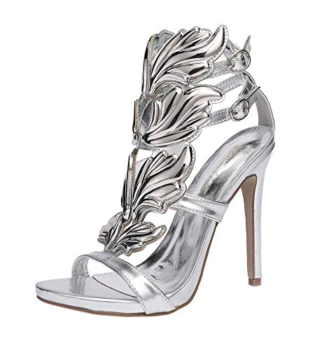 (Peatutoori Women's Peep Toe High Heels Shoes Flame Gladiator Pumps Shoes Dress Party Buckle Strap (8.5, Silver))
