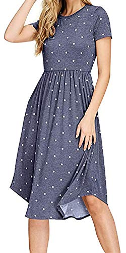 l Summer Short Sleeve Pleated Polka Dot Loose Swing Midi Dress with Pocket (Blue, S) ()