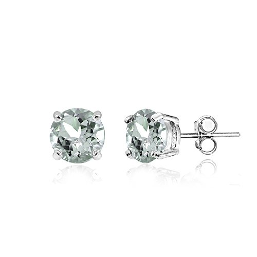 Sterling Silver Light Aquamarine 5mm Round Prong-set Stud Earrings