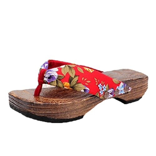 en forme bois tongs ® Transer sandales Mode saboter bois plate femmes Rouge g4zRqZ