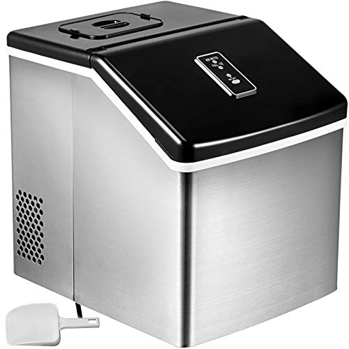VEVOR 48LBS 24H Portable Ice Maker Auto Clear Cube Ice Making Machine With Control Panel Stainless Steel Countertop with Ice Scoop