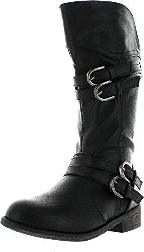 Lucky Top Fay-42K Children Girl's Classical Block Heel Buckle Knee High Riding Boots