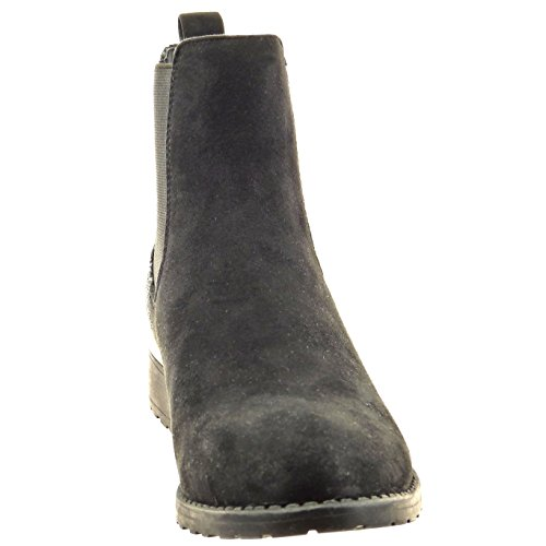 Sopily - Zapatillas de Moda Botines chelsea boots Tobillo mujer piel de serpiente Talón Tacón ancho 3.5 CM - Negro