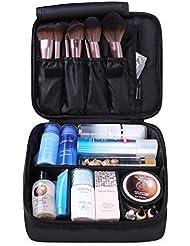 Travel Makeup Bag Large Cosmetic Bag Make up Case Organizer for Women and Girls (Black)