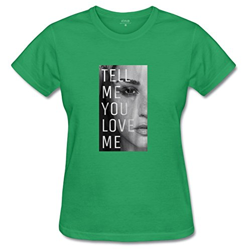 T-shirt Crew Relaxed Love (Women's Tell me You Love me Cotton Crew Neck T-Shirt for Woman S LightGreen)