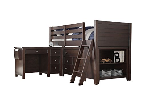 "Major-Q 53"" H Transitional Style Removable Ladder Wooden Twin Size Loft Bed with Desk Chest Bookcase in Espresso (9037670)"