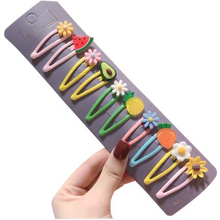 Sunflower-QD Cut Candy Color Hair Clips for Girls Accessories(Fruits+Flower)