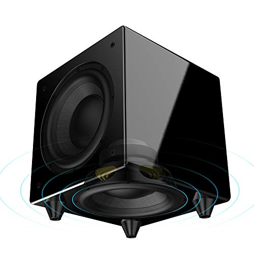 OSD Audio Nero Dual X8 Dual 8″ Dynamic Powered Subwoofer with Active and  Passive Woofers and 300W of Power, Gold-plated Inputs & Piano Black Finish