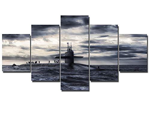 5 Pieces Modern Canvas Painting for Living Room Soldier Standing in Military Sea Ship Wall Art HD Prints House Decor White and Black Artwork Wooden Framed Gallery-Wrapped Ready to Hang(60''Wx32''H)