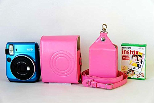 BolinUS Handmade PU Leather FullBody Camera Case Bag Cover for Fujifilm Instax Mini 70 with Neck Strap Battery Bag -Pink