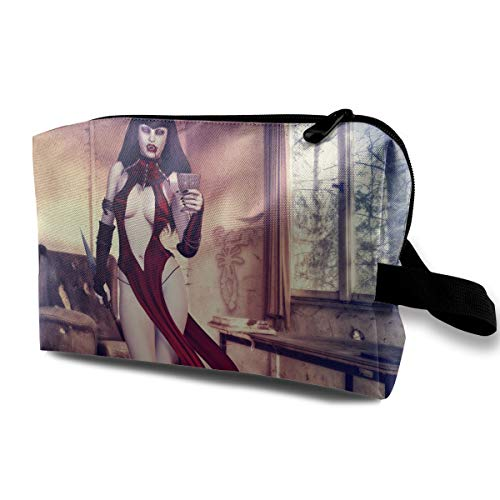 Cool Halloween Bloody Enchantress Vampire Warrior Multi-function Travel Makeup Toiletry Coin Bag -