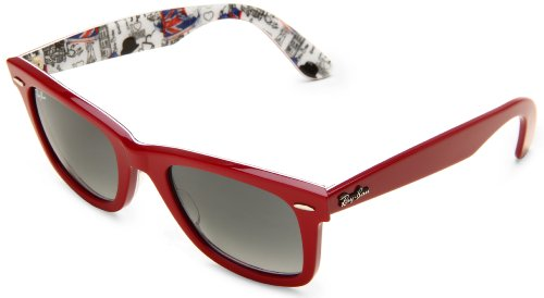 cheap ray ban london  amazon: ray ban wayfarer top red+texture london frame crystal grey gradient azure lenses 50mm non polarized: ray ban: clothing