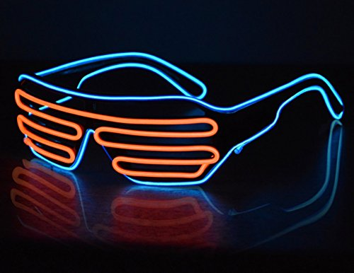 Costumes That Light Up (Neon Glasses LED Sunglasses Light Up Costumes Glow in Dark Party Blue/Orange)