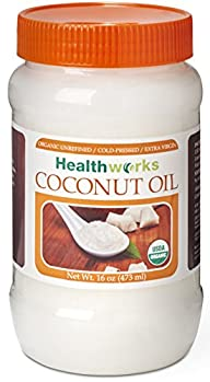 Healthworks Coconut Oil 16 oz Organic Extra Virgin Cold Pressed USDA Certified 1 lb