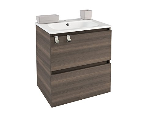 Ash Contemporary Dresser (Box 24 in. Wall Mounted Bathroom Vanity 2 Drawers Cabinet with Resin Washbasin (Ash))