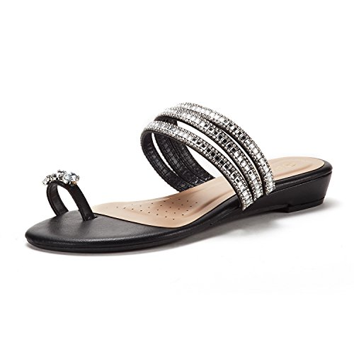 Rhinestones Sandals Ladies - DREAM PAIRS Women's Jewel_05 Black Fashion Rhinestones Design Slides Sandals Size 10 M US