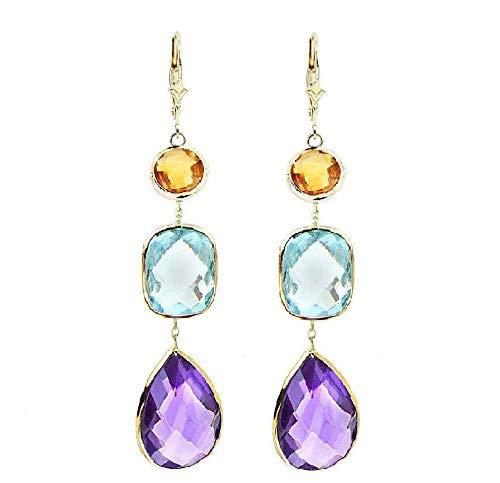 14K Yellow Gold Gemstone Earrings with Citrine, Blue Topaz and Amethyst - Lemon Citrine Gemstone