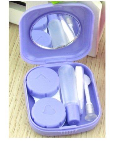 Lunar Baby 2 PCS Mini Travel Contact Lens Case Kit Holder Mirror Box-LB-001( purple ) (Contact Lens Case Travel)