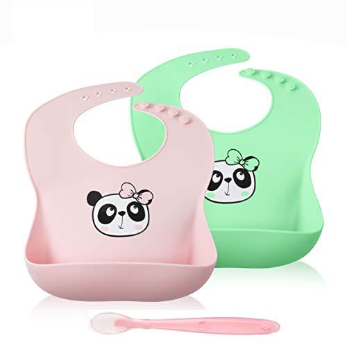 Baby Bibs Silicone 2-Pack, Cute Waterproof Panda Bib for Feeding & Eating