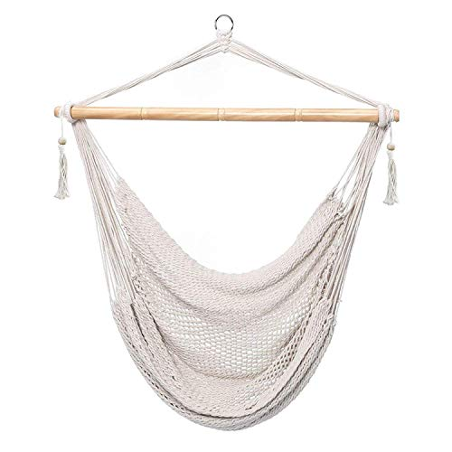 CCTRO Mesh Hammock Net Chair Swing, Hanging Rope Netted Soft Cotton Mayan Hammock Chair Swing Seat Porch Chair for Yard Bedroom Patio Porch Indoor Outdoor, 300 lbs Weight Capacity ()