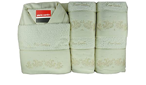 Pierre Cardin - juego de baño boda - Cortina [2 x toallas de baño 60 x 100 cm, 2 x toalla de mano 40 x 60 cm, 1 x toalla de baño ...