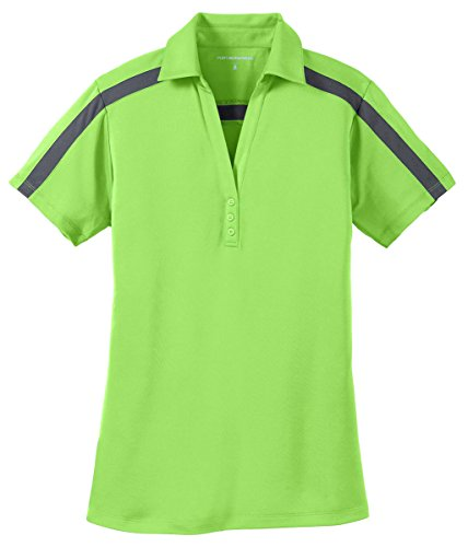 Port Authority Ladies Silk Touch Performance Colorblock Stripe Polo, Lime/ Steel Grey, XX-Large