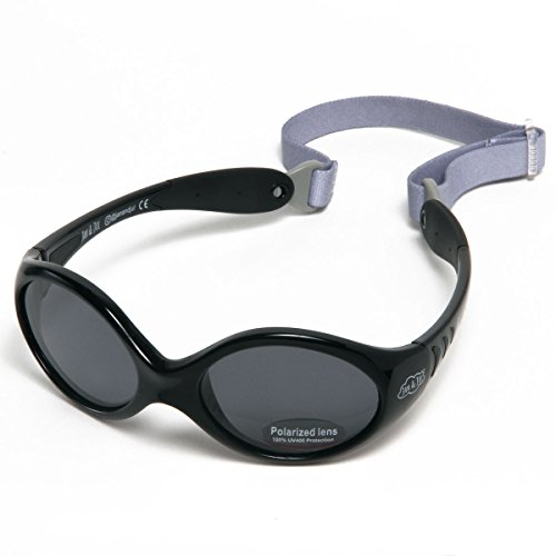 Baby Toddler Sun-glasses With Strap 100% UV Block (S: 6-24 months, Jet Black)]()