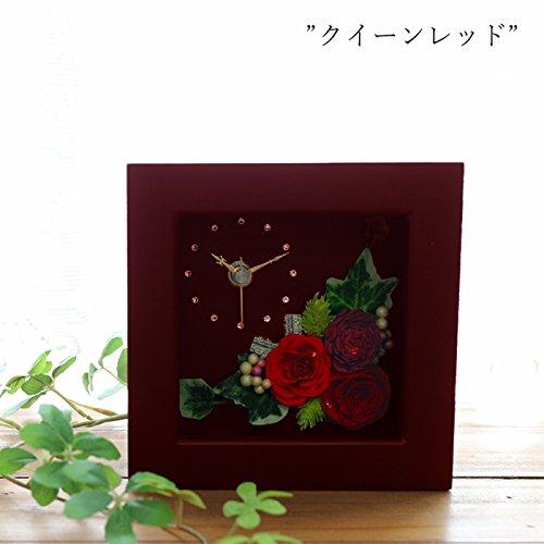 ブラウン ミニ 時計 (クイーンレッド) プリザーブドフラワー ギフト 誕生日 結婚祝い B074P2MKKJ  クイーンレッド