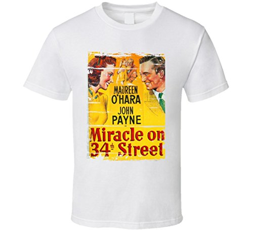 Miracle on 34th Street Classic Movie Poster Aged Look T Shirt L - Shops 34th On Street