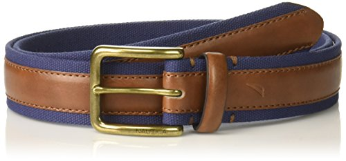 Belt Casual Nautica - Nautica Men's Casual Belt with Canvas Overlay-brown/navy, 32