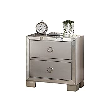 Image of Home and Kitchen ACME Voeville II Platinum Nightstand