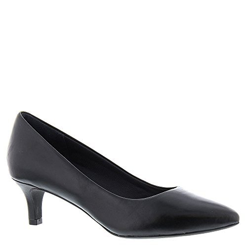 Rockport Womens Kalila Luxe Pump Dress Heel, Black Leather, 7.5 B(M) US