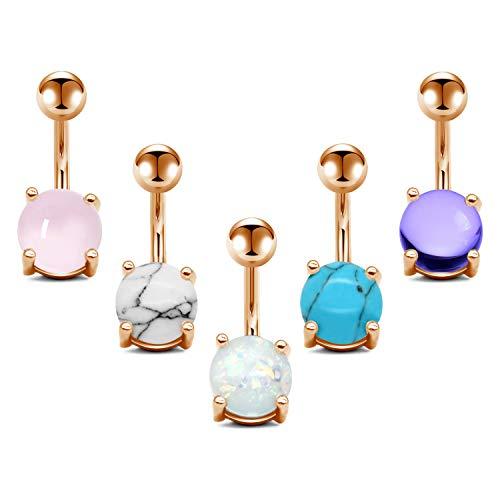 JFORYOU 5 Pcs Belly Button Rings Stainless Steel for Women Girls Navel Rings 5 Style 14G Navel Piercing Rose Gold Body Piercing ()