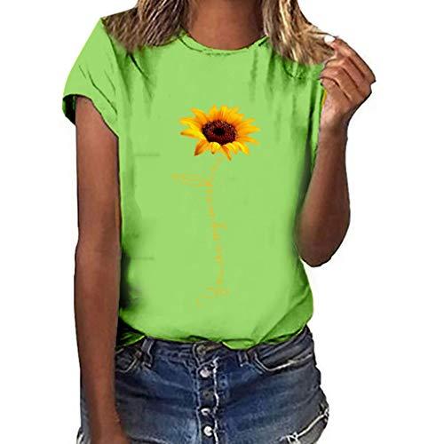 Londony❀♪ Sunflower T-Shirt Women Cute Funny Graphic Tee Teen Girls Casual Short Sleeve Shirt Tops Summer T Shirt Green