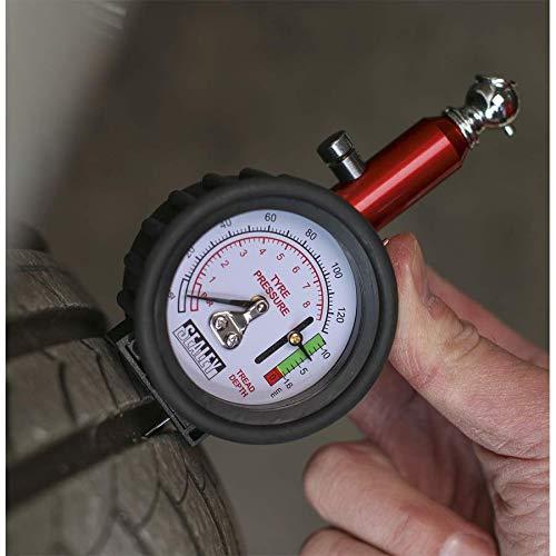 Multicoloured Sealey TSTPDG01 Tyre Pressure Gauge With Tyre Tread Depth Gauge