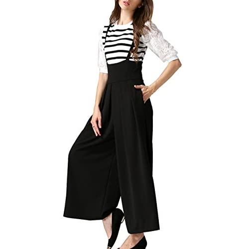 e37fc74e57d5ab GUOLEZEEV Suspender Pants For Women-High Waist Wide Leg Pleated Palazzo  Trousers Overalls hot sale
