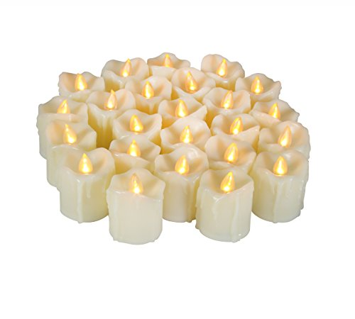 Battery Operated LED Flameless Tealight Votive Candles Realistic Flickering Electric Fake Tea Lights Set Bulk for Xmas Christmas Party Lighting Decorations Gifts Presents 24 Pack Batteries Included