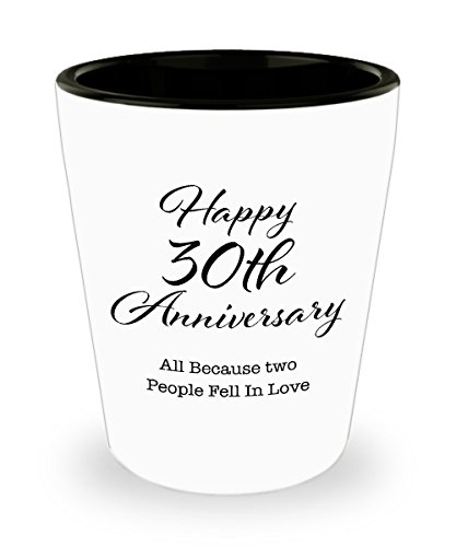 30 Year Anniversary Gifts for Men, Her, Couple, Husband, Wife, Parents, Him, Women, Boyfriend, Girlfriend - Happy 30th Wedding Shot Glass (30 Year Wedding Anniversary Gift For Parents)