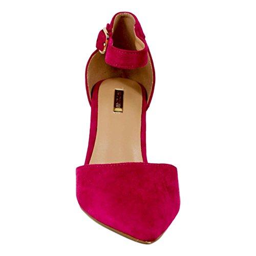 Buonarotti Zapato Fucsia de Antelina con Pulsera EN el Tobillo. Tacón Cuadrado DE 9 Centímetros Fucsia