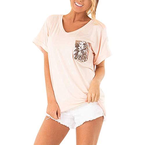Sunhusing Women's Stylish Shiny Sequins Embellished Pockets Stitching Round Neck Short-Sleeve T-Shirt Tops Pink