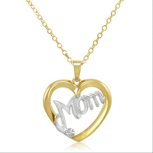 2 Tone Diamond Heart Pendant (Two Tone Diamond Mom Heart Pendant-Necklace in Gold Flashed Sterling Silver)