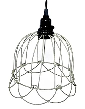 wire bell pendant lamp in barn roof