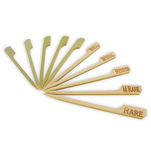 BambooMN Brand - Assorted Steak Doneness Marking Bamboo Paddle Picks, 3.5
