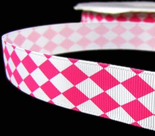5 Yd Valentine Pink White Diamond Checked Argyle Grosgrain Ribbon 7/8