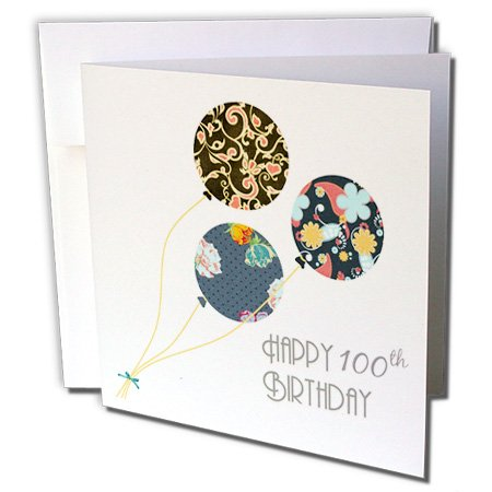 Happy 100th Birthday - floral Balloons black brown blue - Greeting Card, 6 x 6 inches, single (gc_162041_5)