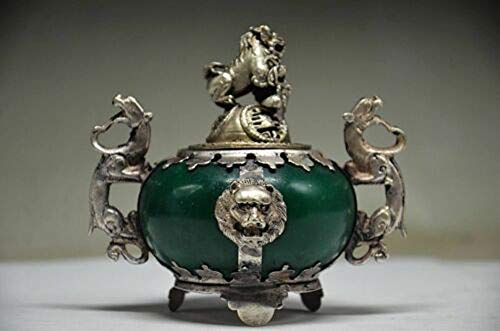 Yunhao8 Exquisite Chinese Silver Dragon Inlaid Jade Handmade Carved Lion Incense Burner